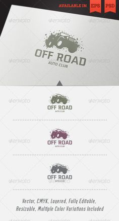 Off Road Logo Template #GraphicRiver Simple, clean and modern logo template perfect for a wide range of Automotive and Auto Sports businesses like: Off Road Club, Auto Show, Off Road Competition, Off Road Driving School or Adventure Sports. Simple to work with and highly customizable, it ca be easily adjusted to fit your needs. Features Fully layered and fully editable vector EPS template Fully layered and fully editable PSD template Easy to change colors and adjustable to any size CMYK…