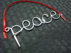 Peace Christmas Ornament, Wire Christmas Tree Ornament, Peace, Wire Wrapped, Gift Tag, Gifts Under 10