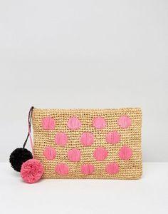 Bolso clutch de playa de paja con pompones y diseño de lunares de ASOS