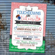 """Touchdowns or Tutus Gender Reveal Invitation-Custom 5""""x7"""" Invite with Pink Sparkle Glitter, Green Football Field and Blue Accents (digital) by Corinnerelly on Etsy"""