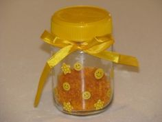 YELLOW Activities- Yellow Music Shaker with coloured rice, stickers and ribbon