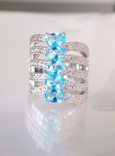 Sterling Silver 925 Electric Blue Apatite Tall Modern Knuckle Gemstone Ring #Cocktail
