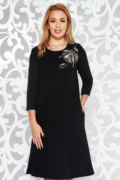 StarShinerS black dress elegant flared embroidered slightly elastic fabric with inside lining with pockets, inside lining, easy cut, embroidery details, 3/4 sleeves, one back botton fastening, with pockets
