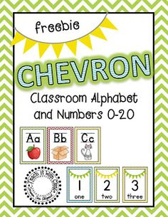 FREE Chevron classroom alphabet and numbers 0-20