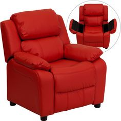 Flash Furniture Deluxe Heavily Padded Contemporary Red Vinyl Kids Recliner with Storage Arms BT-7985-KID-RED-GG