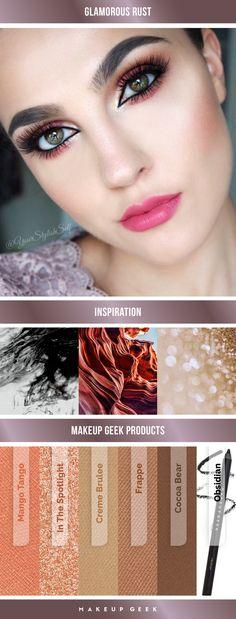 Glamorous rust-colored look by Anna Szwoch using Makeup Geek Eyeshadows. #makeupgeek #makeupgeekcosmetics