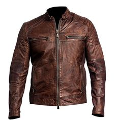 Waxed Distressed Men's Biker Vintage Style Cafe Racer Bro...