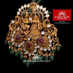 Jewellery: RadhaKrishna Pendant in Diamond Pachi Kids Gold Jewellery, Italian Gold Jewelry, Gold Jewelry Simple, Gold Jewellery Design, Emerald Jewelry, India Jewelry, Temple Jewellery, Silver Jewelry, Fine Jewelry