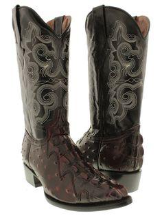 5dee45efa4d Men s Crocodile Tail Ostrich Cowboy Boots Black Cherry Leather Biker J Toe  Rodeo