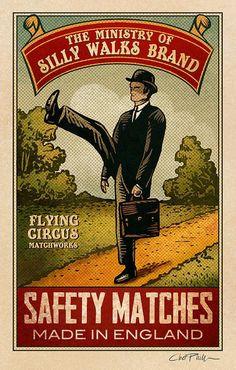 Ministry of Silly Walks Brand Matchbox Art 5 x 7 matted by ChetArt Vintage Prints, Vintage Posters, Vintage Art, Illustrations, Illustration Art, Logo Label, Retro, Matchbox Art, Monty Python