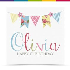 Personalised Handmade Bunting Birthday Card Girl Female 1st 16th 18th 21st 40th | eBay