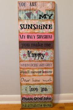 You are my Sunshine Wooden Distressed Wall Art by PoshBabySkirts, $45.00