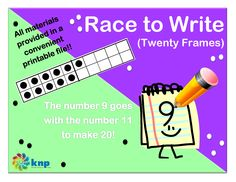 """Race to Write (Twenty Frame)"" - Tell what number goes with another number to make 20. Supports learning Common Core Standards: 1.OA.4, 1.OA.6, 2.OA.2 [KNP Task # S 2207.4]"