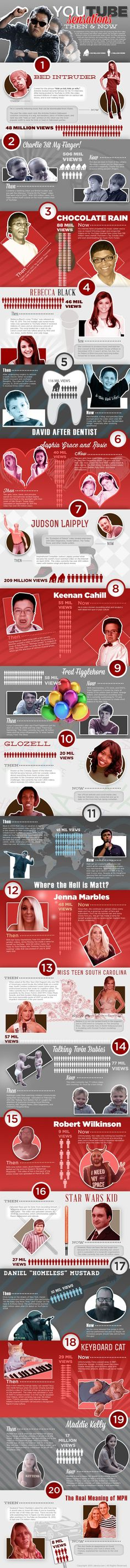 Youtube Sensations - Where Are They Now? Infographic