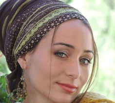 Brown and green tichelHair Snood Head by SaraAttaliDesign on Etsy, ₪152.00