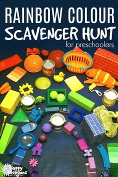 A rainbow scavenger hunt is a fun way for toddlers and preschoolers to learn colours, colour order and build a rainbow. Great rainy day activity for the playroom or the classroom! #colour #ColourActivities #toddleractivities #PreschoolActivities #SortingActivities #ScavengerHunt #Toddlers #Preschoolers #Preschool #Daycare #Childcare #LooseParts #KidsGames #HomemadeGames #Rainbows #RainbowActivities #PlayBasedLearning