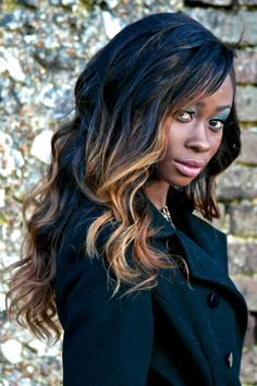 This our Papillon Hair 5A+ Remy Extensions Modelled by our Top Stylist. Ombre, Dip Dye finish with weave application.
