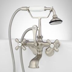 Tub Wall-Mount Telephone Faucet and Hand Shower - Cross Handles - Brushed Nickel