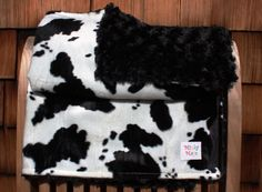 Black and White Cow Velboa with Black Minky Rose Baby by MinkyMaya, $45.00