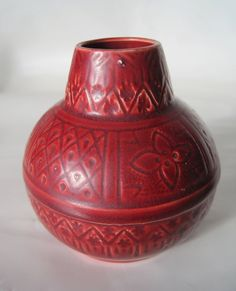 Art Pottery Blood Red Ceramic Vase Marked W & J by Hallingtons