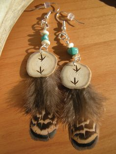 Genuine Whitetail Deer Antler Engraved Feather Earrings.