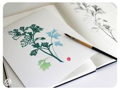 "Parsley Linocut with Sketch, Watercolor and Linocut Herb print $35, 8 x 10"" Happy Tree Press"