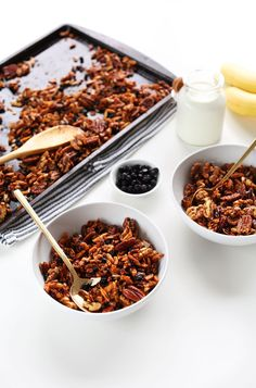 Simple grain free granola with nuts, seeds, coconut and naturally sweetened! Healthy, vegan, gluten free and the perfect protein-rich breakfast or snack!