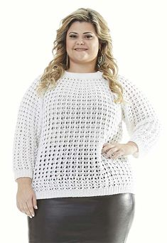 Crochet Blouse, Knit Crochet, Crochet Hats, Use E Abuse, Moda Plus Size, Knit Fashion, Plus Size Blouses, Crochet Clothes, Crochet Projects
