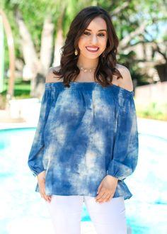 Ariella: Rising Tides Off the Shoulder Top - Blue