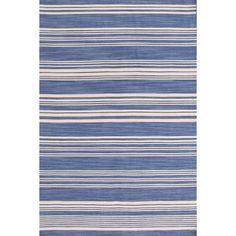 Dash & Albert - Cottage Stripe French Blue Wool Woven Rug