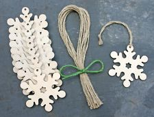 Wooden Snowflake Christmas Tree Decoration Craft Shape Gift Tag