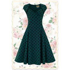 Robe Regina Doll par Collectif, robe rétro à pois en velours noir sur fond vert-bleu. Robe swing, pin-up, vintage. Via missretrochic.com