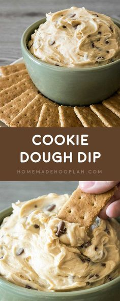 Cookie Dough Dip! Dazzle your guests by serving up dessert first with this ultra-creamy cookie dough dip with chocolate chips. It\'s also eggless and no bake! | HomemadeHooplah.com