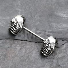 Luster Skull Nipple Barbell Ring