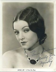 Myrna Loy,who started in silent films in 20s, wearing fashionable necklace of that era