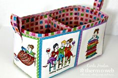 Henry Glass Fabric Organizer Basket using HeatnBond Craft interfacing  perfect basket with a divider for the sewing room