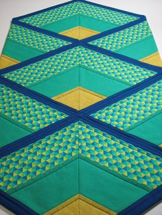 Quilted Table Runner  Modern Table Runner  Blue by VillageQuilts