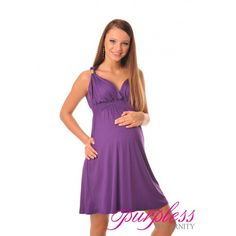 Maternity Summer Party Sun Dress 8423 Violet Beautiful new Purpless Maternity summer party dress. Cross over cleavage, stylish shoulder straps with metal embellishment and high back. Elasticated under bust and around back. The dress has been designed for pregnant ladies and gives lots of space for growing baby bump. Perfect for warm summer days or cocktail parties and other occasions.