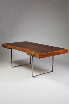 Hans Wegner; Wenge and Steel Desk for Johannes Hansen, 1960s.
