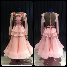 Soft and lovely creation made for elegant young lady 💕 unique design ballroom dress decorated with soft flowers #dancewear #wdsf #dlk_united_design #dancefashion #ballroom #ballroomdress