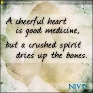 A cheerful heart is good medicine, but a crushed spirit dries up the bones. —Proverbs 17:22 (NIV)