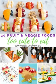 20 Fruit and Veggie Foods Too Cute To Eat. Cute and healthy snacks for kids 20 Fruit and Veggie Foods Too Cute To Eat. Cute and healthy snacks for kids Veggie Snacks, Fruit Snacks, Veggie Recipes, Baby Food Recipes, Snacks Recipes, Cute Snacks, Healthy Snacks For Kids, Cute Food, Summer Kids Snacks