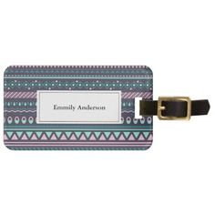 Beautifully patterned stained wood usb charging station cyo ethnic tribal colored geometric luggage tag solutioingenieria Choice Image