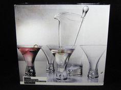 ARTLAND Crystal Martini Pitcher Glass Stirrer & Set Of 4 Flared Martini Glasses