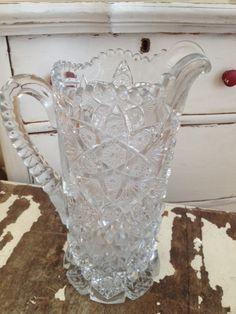 VINTAGE Antique Glass Serving Pitcher Crystal by SundayFleaMarket Shabby Vintage, Etsy Vintage, Vintage Items, Antique Decor, Vintage Antiques, Cut Glass, Glass Art, Antique Glassware, Unusual Jewelry
