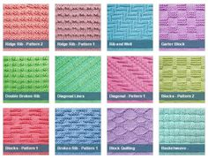 List of free stitch patterns using only knit and purl stitches for knitters of all levels. All with pictures and full patterns. Easy to follow instructions and easy to knit.