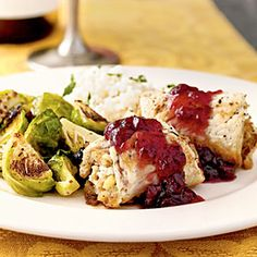 Stuffed Turkey Rolls with Cranberry Glaze  http://www.myrecipes.com/recipe/stuffed-turkey-rolls-with-cranberry-glaze-10000001860107/