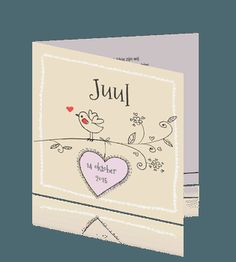 Hip getekend geboortekaartje voor een meisje - vogel en hart - Juul
