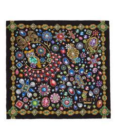 Liberty London Black Jewel of Liberty Silk Scarf | Silk Scarves by Liberty London | Liberty.co.uk