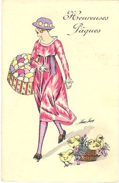 Vintage French Easter Card Happy Easter